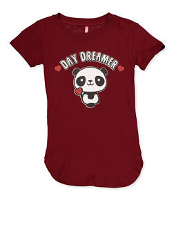 Girls 7-16 Round Hem Panda Graphic Tee - 3635066590394