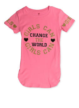 Girls 7-16 Girls Can Change the World Tee - 3635066590396