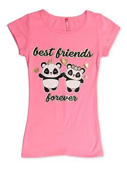 Girls 7-16 Best Friends Forever Panda Tee - 3635066590401