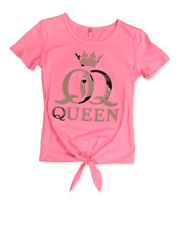 Girls 7-16 Queen 3D Foil Graphic Tie Front Tee - 3635066590406