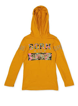 Girls 7-16 Born to Shine Hooded Top - 3635066590415