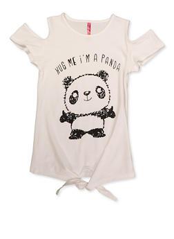 Girls 7-16 Hug Me Im A Panda Cold Shoulder Top - 3635066590416