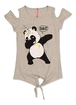 Girls 7-16 Panda Dab It Cold Shoulder Top - 3635066590417