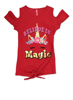 Girls 7-16 Believe in Magic Unicorn Top - 3635066590419