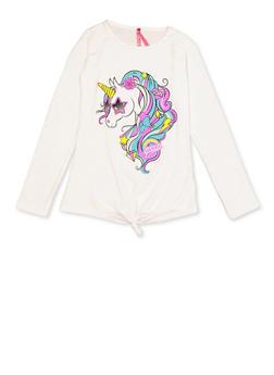 Girls 7-16 Tie Front Unicorn Tee - 3635066590423