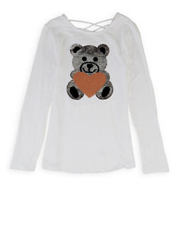 Girls 7-16 Teddy Bear Reversible Sequin Tee - 3635066590425