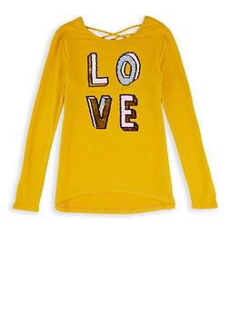 Girls 7-16 Love Reversible Sequin Top - 3635066590428