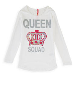 Girls 7-16 Reversible Sequin Queen Squad Top - 3635066590430