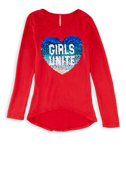 Girls 7-16 Girls Unite Reversible Sequin Heart Tee - 3635066590436