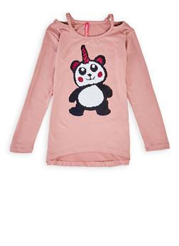 Girls 7-16 Pandacorn Reversible Sequin Tee - 3635066590440