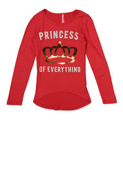 Girls 7-16 3D Foil Graphic Princess of Everything Top - 3635066590450