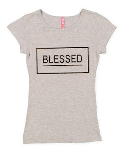 Girls 7-16 Blessed 3D Foil Screen Tee - 3635066590703