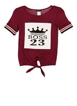 Girls 7-16 3D Foil Print Tie Front Tee - 3635066590710