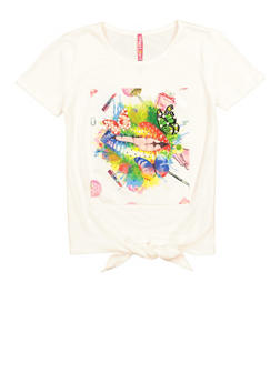 Girls Faux Pearl Graphic Patch Tee - 3635066590754
