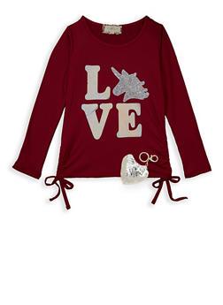 Girls 7-16 Love Sequin Unicorn Tee with Keychain - 3635072200001