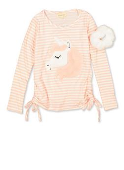 Girls 7-16 Faux Fur Unicorn Top and Scrunchie - 3635072200002