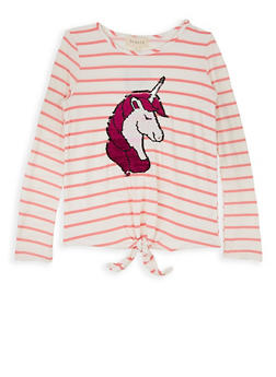 Girls 7-16 Reversible Sequin Unicorn Striped Tee - 3635072200003