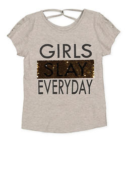 Girls 7-16 Reversible Sequin Graphic Tee - 3635073990031