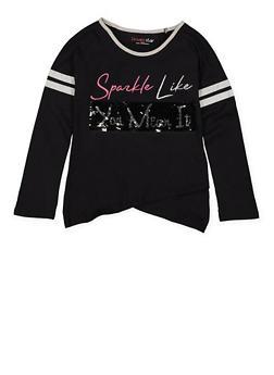 Girls 7-16 Reversible Sequin Graphic Top - BLACK - 3635073990032