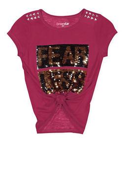 Girls 7-16 Reversible Sequin Graphic Tie Front Tee - 3635073990033
