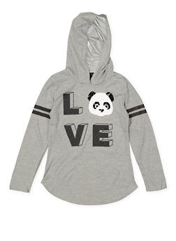Girls 7-16 Love Panda Reversible Sequin Hooded Tee - 3635073990044