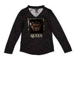 Girls 7-16 Reversible Sequin Queen Graphic Tee - 3635073990046