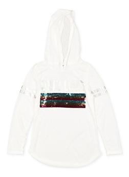 Girls 7-16 Reversible Sequin Graphic Hooded Tee - 3635073990052