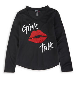 Girls 7-16 Girls Talk Lip Reversible Sequin Tee - 3635073990054