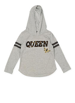 Girls 4-16 Reversible Sequin Graphic Hooded Tee - 3635073990060