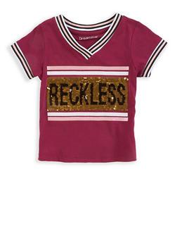 Girls 7-16 Reversible Sequin Striped Trim Tee - 3635073990065