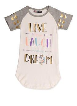 Girls 7-16 Live Forever Laugh and Always Dream Graphic Tee - 3635075540015