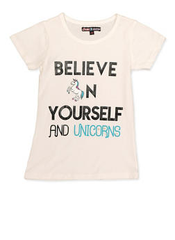 Girls 7-16 Believe in Yourself and Unicorns Tee - 3635075540018