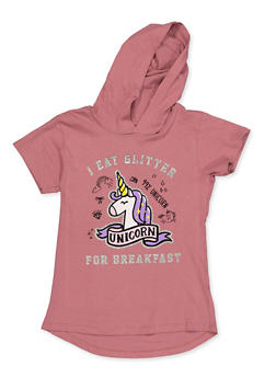 Girls 7-16 I Eat Glitter For Breakfast Hooded Top - 3635075540025