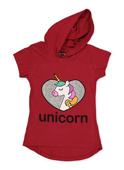 Girls 7-16 Glitter Heart Unicorn Hooded Top - 3635075540031