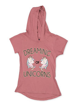 Girls 7-16 Dreaming of Unicorns Hooded Tee - 3635075540032