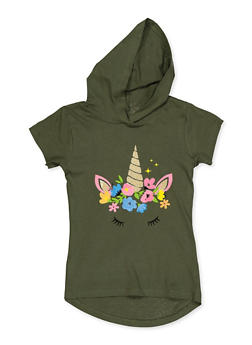 Girls 7-16 Unicorn Graphic High Low Hooded Top - 3635075540033