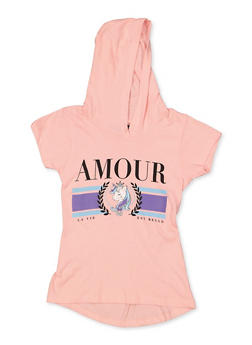 Girls 7-16 Amour Unicorn Hooded Top - 3635075540034