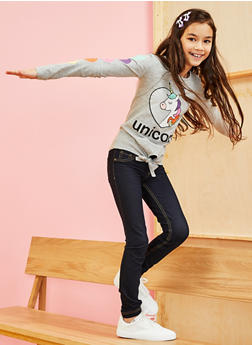 Girls 7-16 Glitter Heart Unicorn Tie Front Tee - 3635075540044