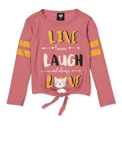 Girls 7-16 Live Laugh Love Tie Front Tee - 3635075540045