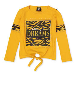 Girls 7-16 Follow Your Dreams Tie Front Tee - 3635075540048