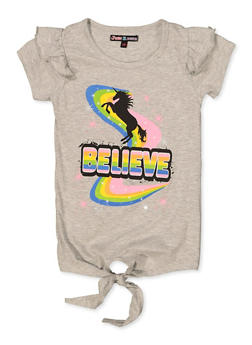 Girls 7-16 Believe Ruffled Tie Front Tee - 3635075540059