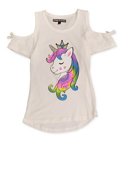 Girls 7-16 Glitter Unicorn Cold Shoulder Top - 3635075540065