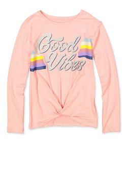 Girls 7-16 Good Vibes Twist Front Tee - 3635075540075