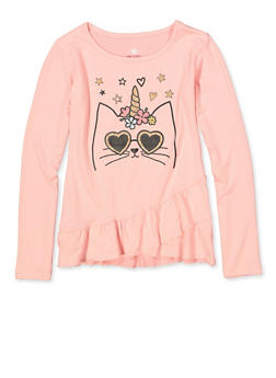 Girls 7-16 Caticorn Ruffle Trim Top - 3635075540080