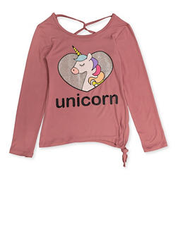 Girls 7-16 Glitter Unicorn Caged Tee - 3635075540083