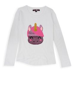 Girls 7-16 Long Sleeve Reversible Sequin Unicorn Tee - 3635075540085