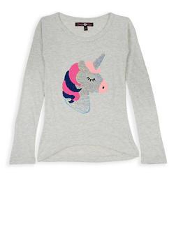 Girls 7-16 Reversible Sequin Unicorn Long Sleeve Tee - 3635075540086