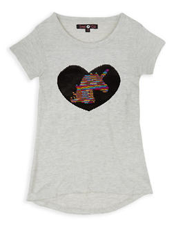 Girls 7-16 Unicorn Heart Reversible Sequin Tee - 3635075540088