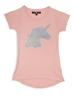 Girls 7-16 Reversible Sequin Unicorn T Shirt - 3635075540094