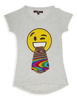 Girls 7-16 Tongue Emoji Reversible Sequin Tee - 3635075540095